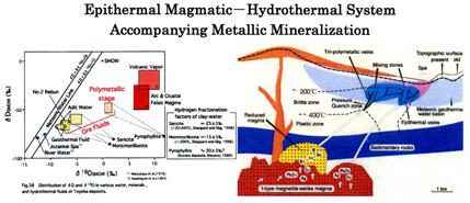 金属鉱化作用を伴う浅所マグマ-熱水系モデル(豊羽鉱山の例)